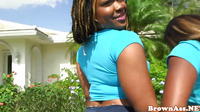 Ebony Threeway With Bigass Babes Facialized