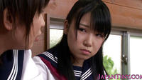 Young Japanese Schoolgirls Sharing Cock