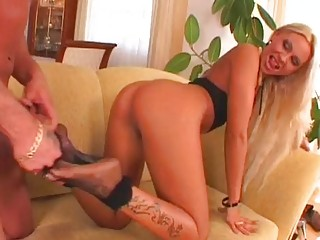 Horny Adriana Russo Gets Her Fishnetted Feet Jizzed After A Hard Lusty Fuck Free Porn Video.