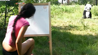 On A Sunny Summer Day A Pretty Artist Decided To Go To The Woods To Paint A Beautiful Landscape Picture