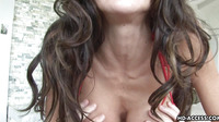 Sweet Brunette Gobbles Up A Hard Dong